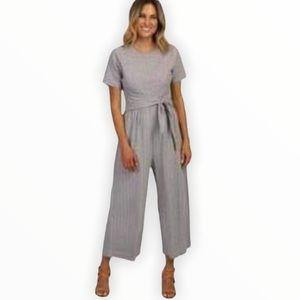 Pinkblush Gray striped tie front jumpsuit - S